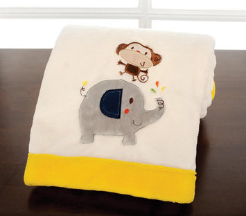 Kids Line Happy Tails Embroidered Boa Blanket - Ecru