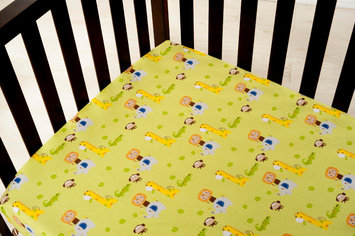 Kids Line Happy Tails Fitted Crib Sheet - Sage Ground