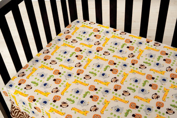Kids Line Happy Tails Fitted Crib Sheet - Ecru Ground
