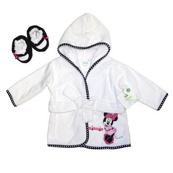 Triboro Quilt Mfg. Corp. Disney Minnie Mouse Infant Girl's Terry Cloth Robe & Booties