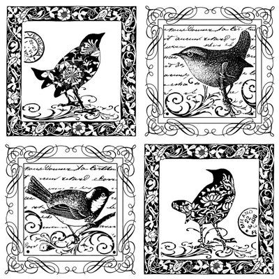 Cam Consumer Products, Inc. Crafty Individuals Unmounted Rubber Stamp Four Little Songbirds