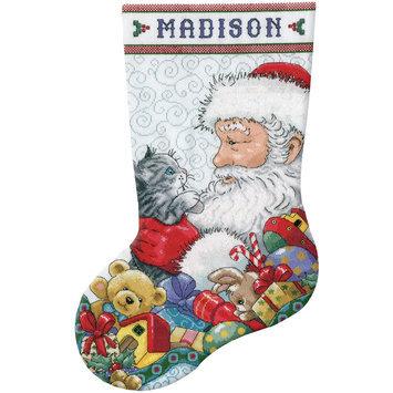 Tobin Santa & Kitten Stocking Counted Cross Stitch Kit 14 Count