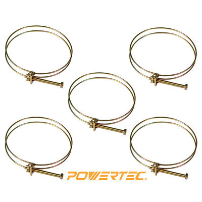 Powertec 70101 4-Inch Wire Hose Clamp, 5-Pack
