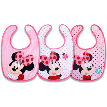 Disney Minnie Mouse Infant Girl's 3-Pack Bibs