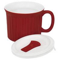 World Kitchen Corningware French White 20 oz Mug With Lid (Tomato)