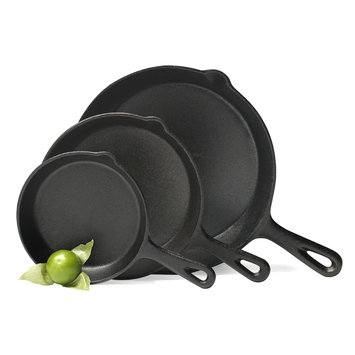 Essential Home Cast Iron 3pc Fry Pan Set Black 10 in.