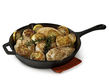 Essential Home Cast Iron 12in Skillet with Helper Handle Black 12 in.