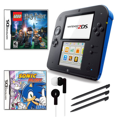 Nintendo 2DS Blue Bundle with 2 Games and Accessories