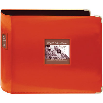 Pioneer Sewn Leatherette 12x12 3-Ring Scrapbook Album - Bright Orange