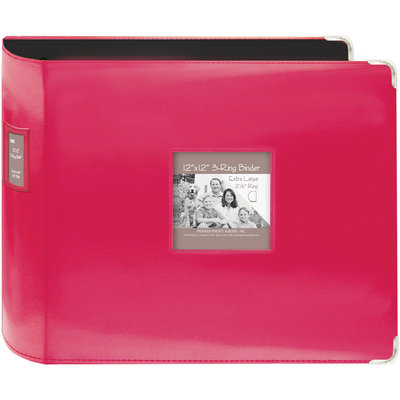 Pioneer Sewn Leatherette 12x12 3-Ring Scrapbook Album - Bright Pink