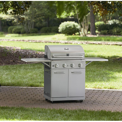 D & H Stainless Steel 4 Burner Gas Grill With Folding Side Shelves and lit knobs