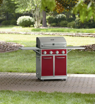 D & H Red 4 Burner Gas Grill With Folding Side Shelves and lit knobs