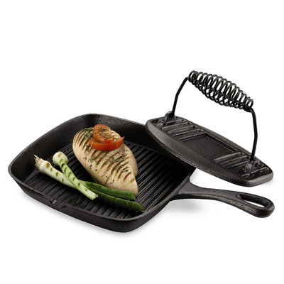 Basic Essentials Cast Iron Grill Pan and Press Set - TABLETOPS UNLIMITED, INC.