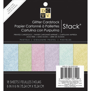 Diecuts With A View MS019035 Specialty Stack 6X6 18/Pkg-Pastel Glitter W/White Core