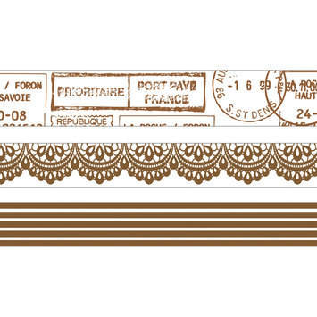 Kaisercraft Printed Tape 3 Rolls/Pkg-Timeless