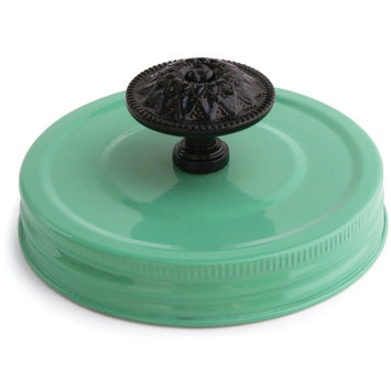 Cosmo Cricket COS-STP-68244 Show Toppers Jar Lid-Lid W/Knob - Jade & Black