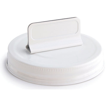 Cosmo Cricket COS-STP-68245 Show Toppers Jar Lid-Lid W/Clip - White