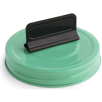 Cosmo Cricket COS-STP-68246 Show Toppers Jar Lid-Lid W/Clip - Jade & Black