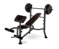 Marcy Standard Weight Bench with 80 LB Weight Set Black