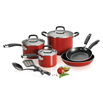 Kenmore 10-Piece Aluminum Cookware Set - Red
