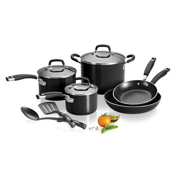 Kenmore 10-Piece Aluminum Cookware Set - Black