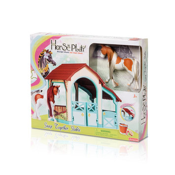 Lanard Toys Limited American Painted Horse and Snap Together Stable Set