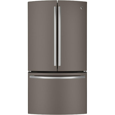 GE 35.75 in. W 23.1 cu. ft. French Door Refrigerator in Slate, Counter Depth PWE23KMDES