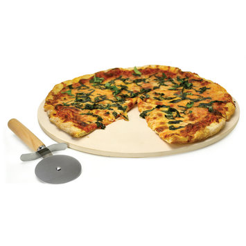 Ecolution Grilling Accessories. 15 in. Kitchen Extras Pizza Stone with Wooden Handle Cutter