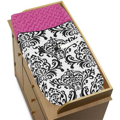 Sweet Jojo Designs Hot Pink, Black and White Isabella Changing Pad