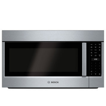Bosch 800 Series HMV8052U 1.8 cu. ft. Over-the-Range Microwave Oven with 385 CFM Ventilation, 1,500 Convection Watts, 10 Power Levels, Sensor Cooking, Glass Turntable and LCD Display