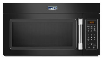 Maytag MMV1174DE 1.7 cu. ft. Over-the-Range Microwave Oven with 1000 Watts, 220 CFM Venting System, Stainless Steel Handle, Grease Filter, Hidden Vent and Incandescent Cooktop Lighting: Black