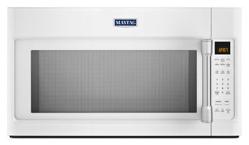 Maytag MMV4205DH 2.0 cu. ft. Over-the-Range Microwave Oven with 1000 Watts, 400 CFM Venting System, Stainless Steel Cavity, Speed Cook, Interior Cooking Rack and Incandescent Lighting: White with Stainless Steel Accents