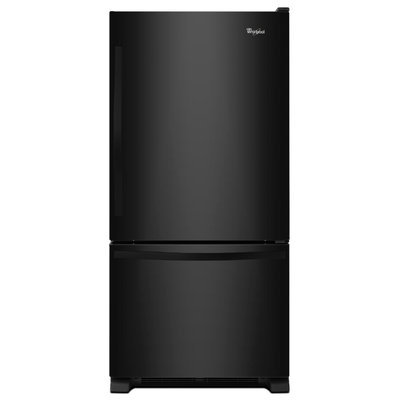Whirlpool WRB322DMBB 21.9 cu. ft. Bottom-Freezer Refrigerator with SpillGuard Glass Shelves, Fixed Gallon Door Bin, Humidity Controlled Crispers, LED Lighting and Ice Maker: Black