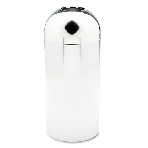 Safco Products 9875 Reflections Chrome Open Top Dome Receptacle, Chrome