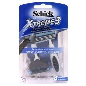 Schick Xtreme3 Razors, Triple Blade, 4 razors