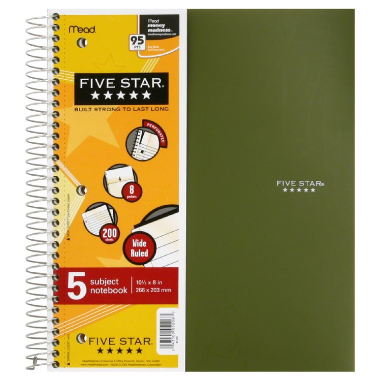 Mead Five Star 5 Subject Spiral Notebook Wide Ruled - School Supplies
