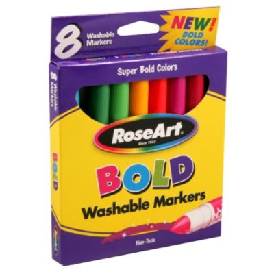 RoseArt Broadline Bold, Washable Markers - Pack of 8