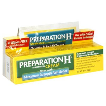 Preparation H Hemorrhoidal Cream, Maximum Strength Pain Relief, 0.9 oz (26 g) - WYETH CONSUMER HEALTHCARE