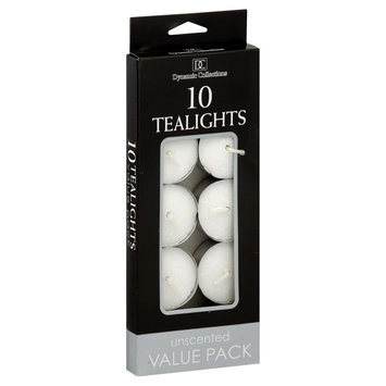Dynamic Designs Candles, Tealight, Unscented, Value Pack, 10 tealights [4.6 oz (130 g)]