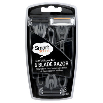 Kmart Corporation Smart Sense Razor, 6 Blade, Men's Disposable, 3 razors