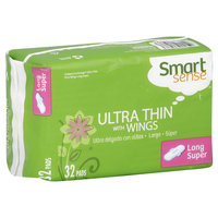Kmart Corporation Smart Sense Pads, Ultra Thin, with Wings, Long, Super, 32 pads
