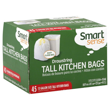 Kmart Corporation Tall Kitchen Bags, Drawstring, 13 Gallon Size, 45 bags