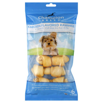 Kmart Corporation Rawhide Bones, Small Dogs, 4 Inch, Chicken Flavored, 6 pack [7.4 oz (210 g)]