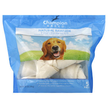 Champion Breed Rawhide Bones, Large Dogs, 8 Inch, Natural, 5 pack [21 oz (595 g)] - KMART CORPORATION