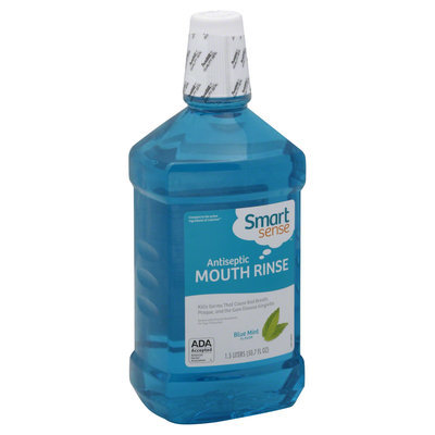 Smart Sense Mouth Rinse, Antiseptic, Blue Mint Flavor, 50.7 fl oz (1.5 lt) - KMART CORPORATION