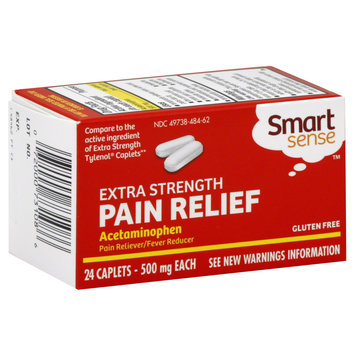 Smart Sense Acetaminophen, 500 mg, Extra Strength, Caplets, 24 caplets - KMART CORPORATION
