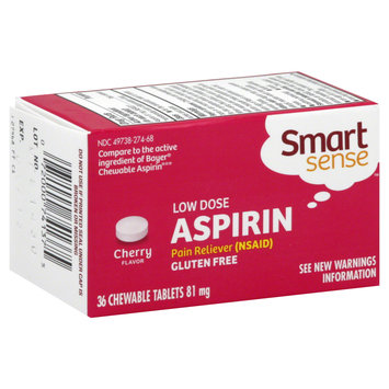 Kmart Corporation Aspirin, Low Dose, 81 mg, Cherry Flavor, Chewable Tablets, 36 tablets