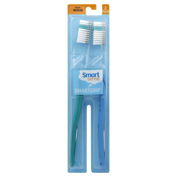 Kmart Corporation Smart Sense Smart Grip Toothbrushes, Regular, Medium, 2 toothbrushes