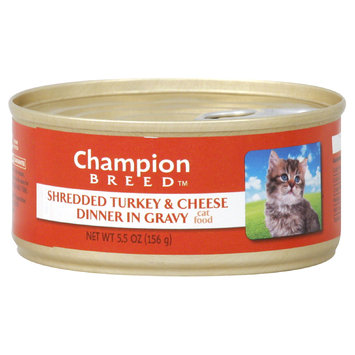 Champion Breed Cat Food, Shredded Turkey & Cheese Dinner in Gravy, 5.5 oz (156 g) - KMART CORPORATION