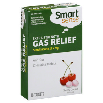 Kmart Corporation Gas Relief, Extra Strength, 125 mg, Chewable Tablets, Cherry Creme Flavor, 18 tablets